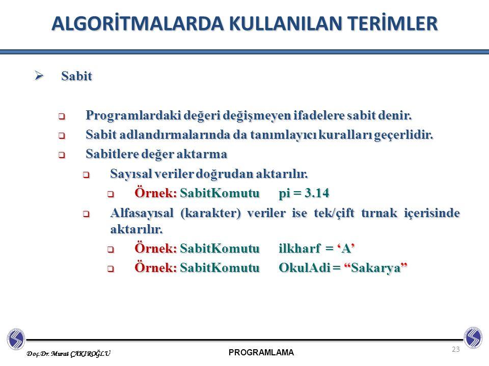 PROGRAMLAMA Doç.Dr. Murat ÇAKIROĞLU 23 ALGORİTMALARDA KULLANILAN TERİMLER  Sabit  Programlardaki değeri değişmeyen ifadelere sabit denir.  Sabit ad