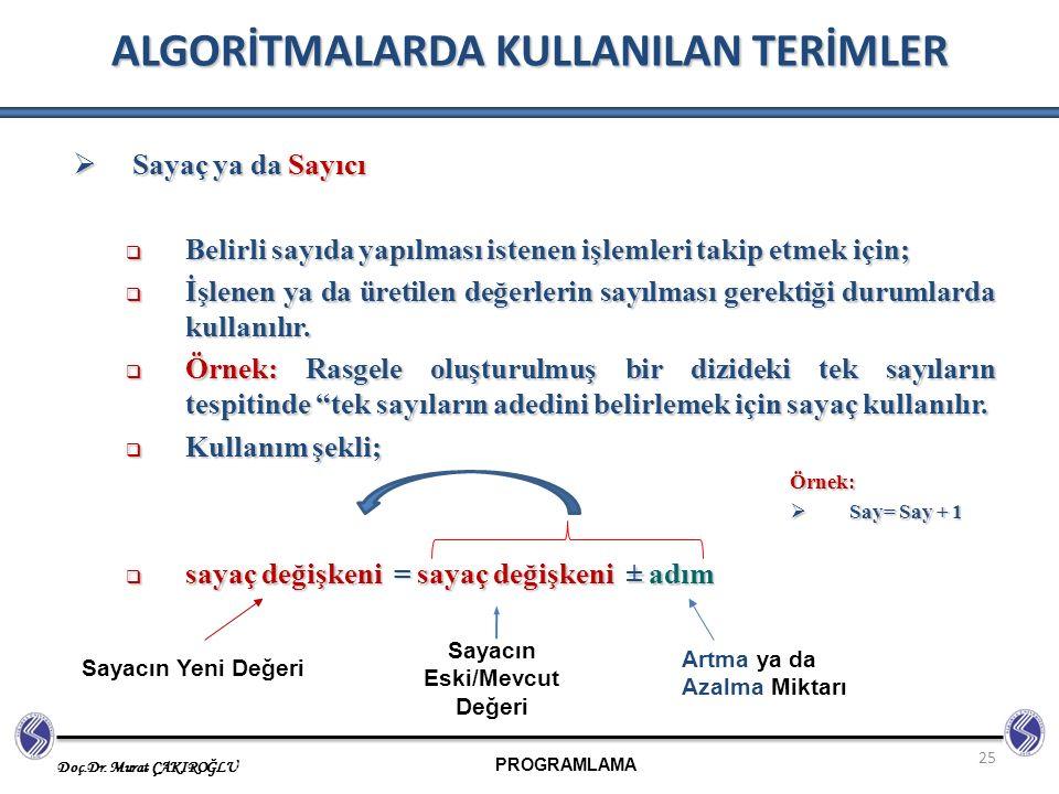 PROGRAMLAMA Doç.Dr. Murat ÇAKIROĞLU 25 ALGORİTMALARDA KULLANILAN TERİMLER  Sayaç ya da Sayıcı  Belirli sayıda yapılması istenen işlemleri takip etme