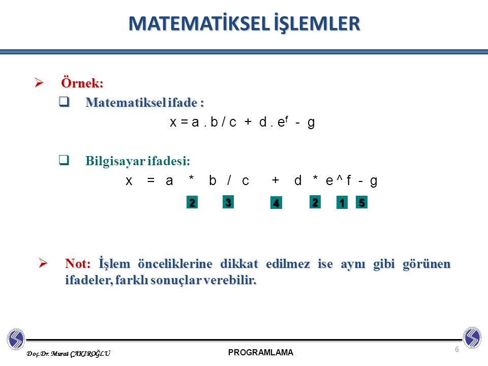 PROGRAMLAMA Doç.Dr. Murat ÇAKIROĞLU 6 MATEMATİKSEL İŞLEMLER  Örnek:  Matematiksel ifade : x = a. b / c + d. e f - g  Bilgisayar ifadesi: x = a * b