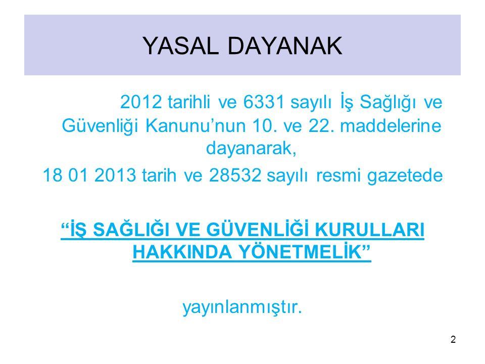 30 06 2012 tarihli ve 6331 sayılı İş Sağlığı ve Güvenliği Kanunu'nun 10. ve 22. maddelerine dayanarak, 18 01 2013 tarih ve 28532 sayılı resmi gazetede