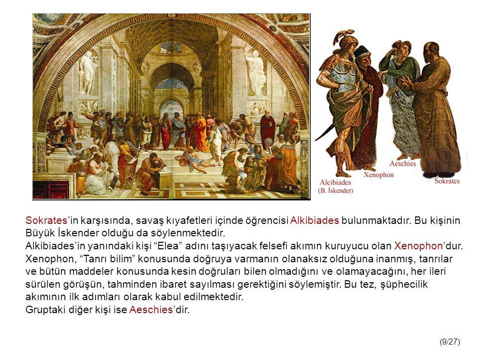Sokrates'in karşısında, savaş kıyafetleri içinde öğrencisi Alkibiades bulunmaktadır.