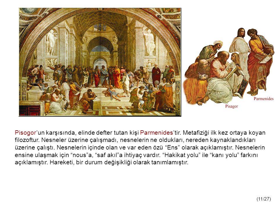 Pisogor'un karşısında, elinde defter tutan kişi Parmenides'tir.
