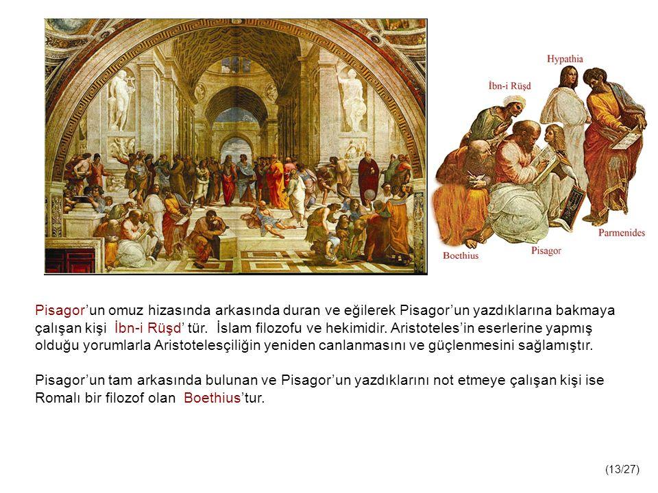 Pisagor'un omuz hizasında arkasında duran ve eğilerek Pisagor'un yazdıklarına bakmaya çalışan kişi İbn-i Rüşd' tür.