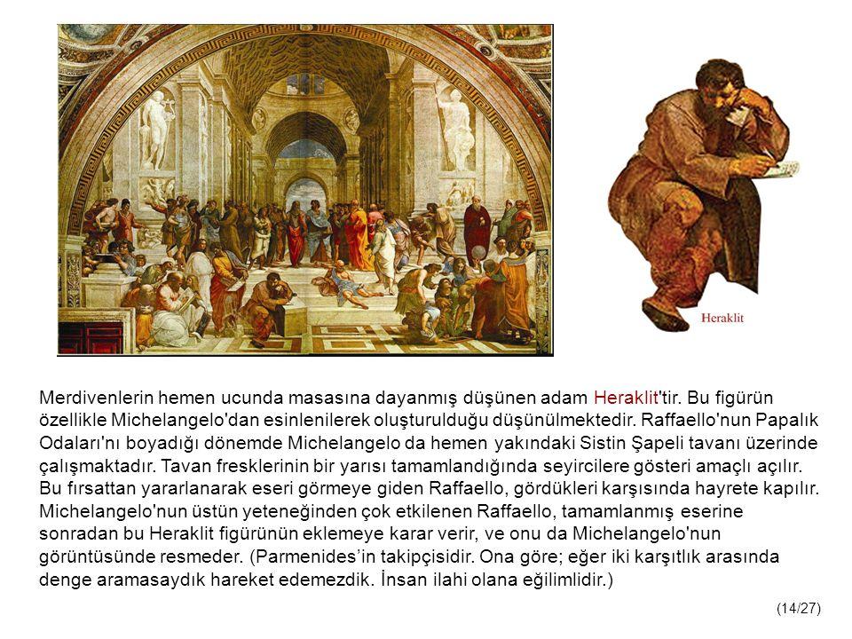Merdivenlerin hemen ucunda masasına dayanmış düşünen adam Heraklit tir.