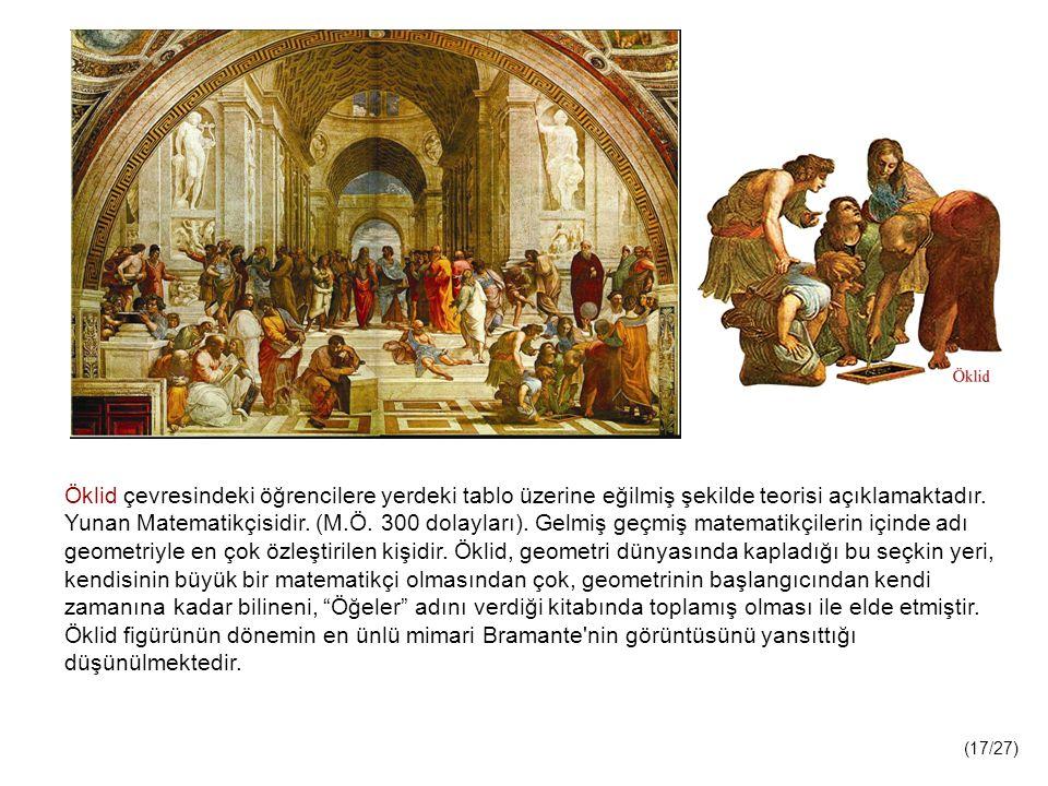 Öklid çevresindeki öğrencilere yerdeki tablo üzerine eğilmiş şekilde teorisi açıklamaktadır.