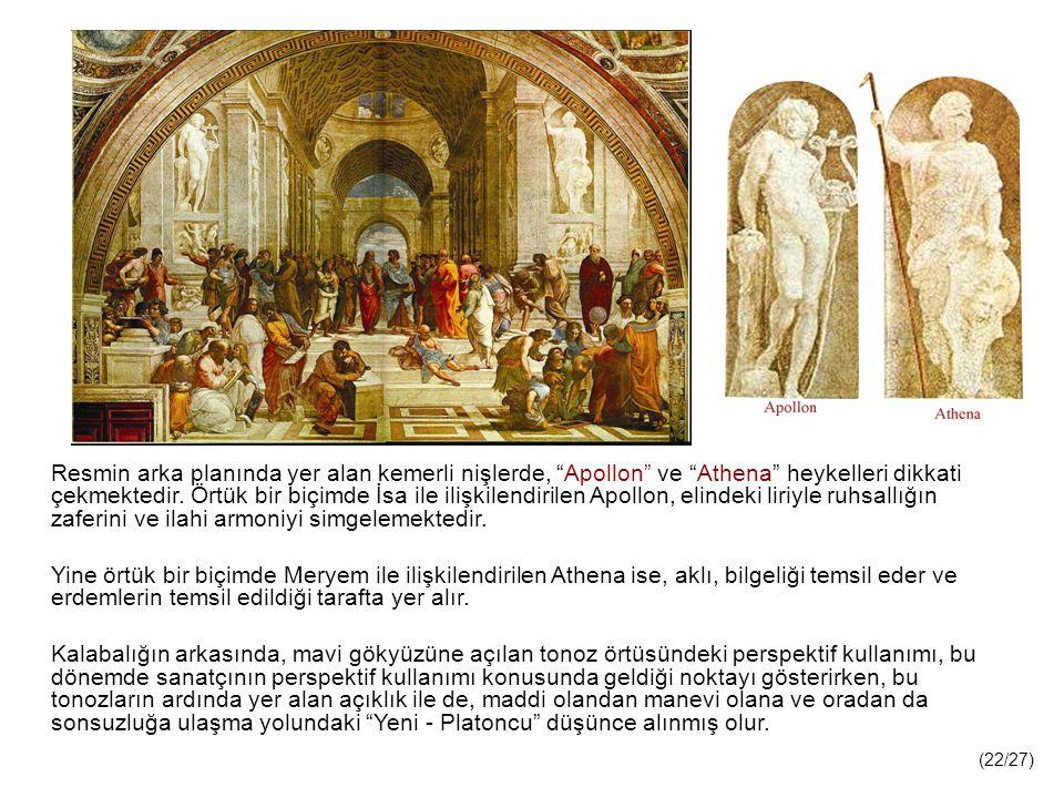 Resmin arka planında yer alan kemerli nişlerde, Apollon ve Athena heykelleri dikkati çekmektedir.