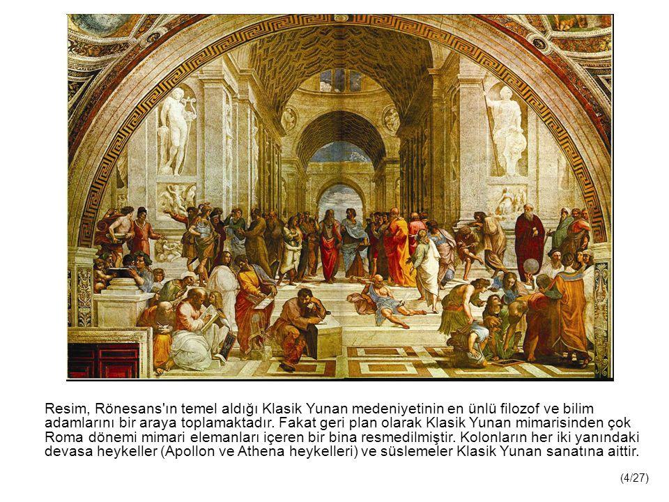 Resim, Rönesans ın temel aldığı Klasik Yunan medeniyetinin en ünlü filozof ve bilim adamlarını bir araya toplamaktadır.