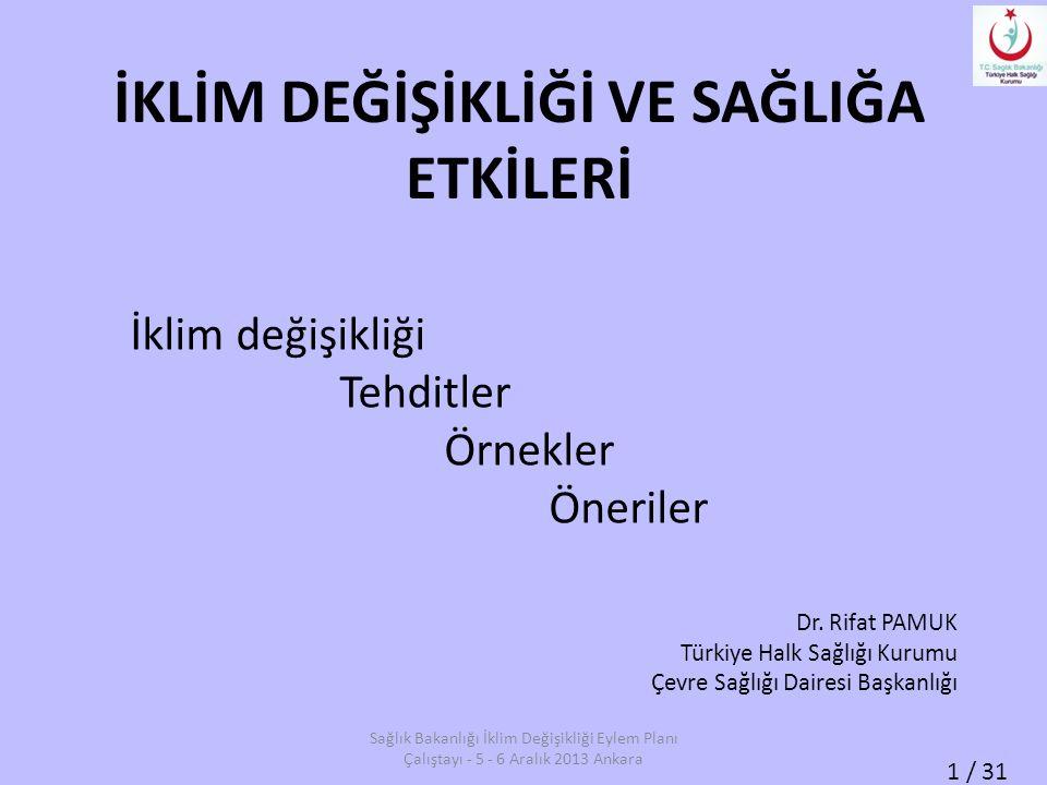 1 / 31 İKLİM DEĞİŞİKLİĞİ VE SAĞLIĞA ETKİLERİ İklim değişikliği Tehditler Örnekler Öneriler Dr. Rifat PAMUK Türkiye Halk Sağlığı Kurumu Çevre Sağlığı D