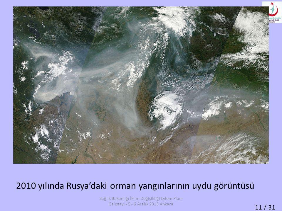 11 / 31 2010 yılında Rusya'daki orman yangınlarının uydu görüntüsü Sağlık Bakanlığı İklim Değişikliği Eylem Planı Çalıştayı - 5 - 6 Aralık 2013 Ankara