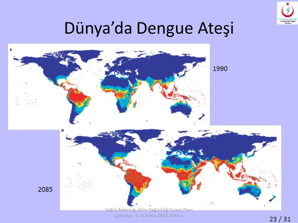 23 / 31 Dünya'da Dengue Ateşi 1990 2085 Sağlık Bakanlığı İklim Değişikliği Eylem Planı Çalıştayı - 5 - 6 Aralık 2013 Ankara