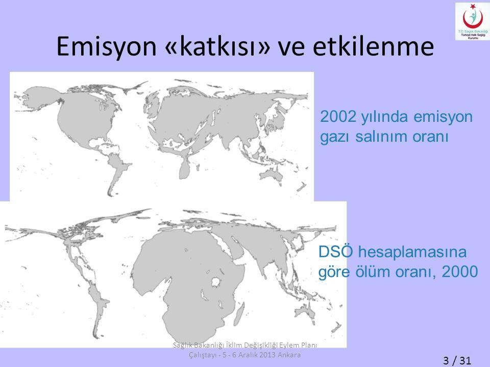 3 / 31 Emisyon «katkısı» ve etkilenme 2002 yılında emisyon gazı salınım oranı DSÖ hesaplamasına göre ölüm oranı, 2000 Sağlık Bakanlığı İklim Değişikliği Eylem Planı Çalıştayı - 5 - 6 Aralık 2013 Ankara