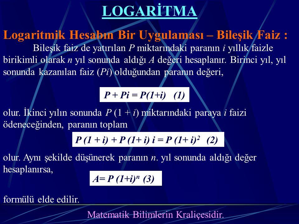 LOGARİTMA Logaritmik Hesabın Bir Uygulaması – Bileşik Faiz : Matematik Bilimlerin Kraliçesidir. P + Pi = P(1+i) (1) P (1 + i) + P (1+ i) i = P (1+ i)