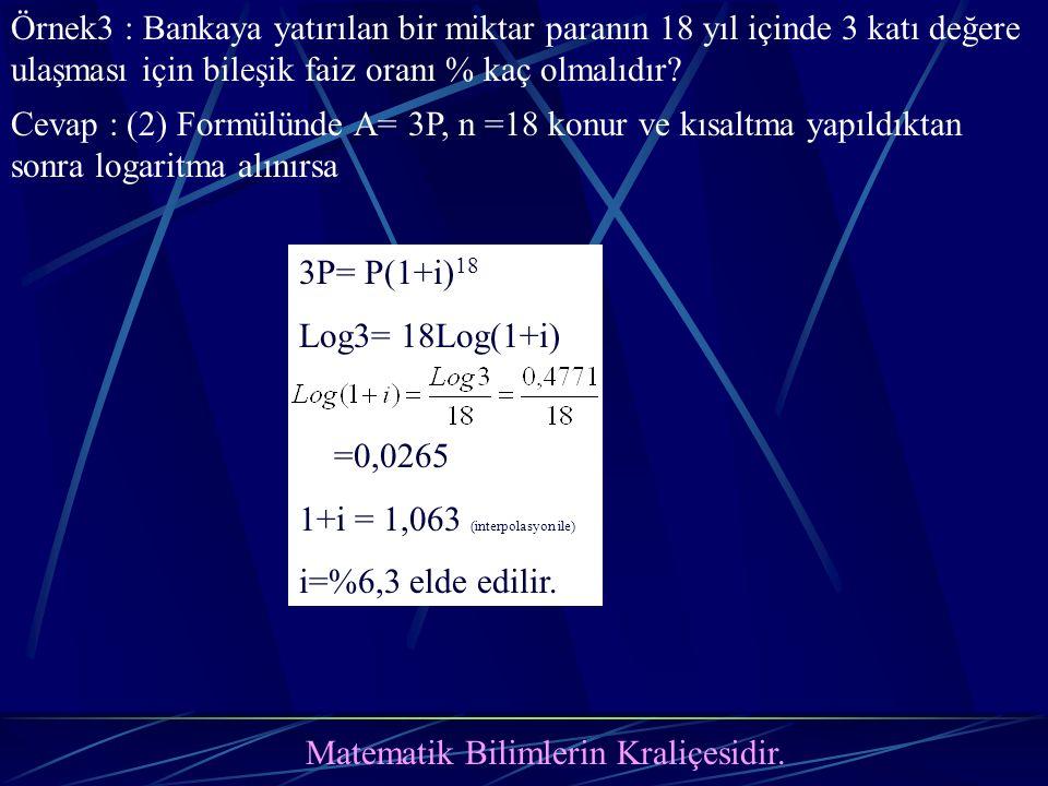 Matematik Bilimlerin Kraliçesidir. Örnek3 : Bankaya yatırılan bir miktar paranın 18 yıl içinde 3 katı değere ulaşması için bileşik faiz oranı % kaç ol