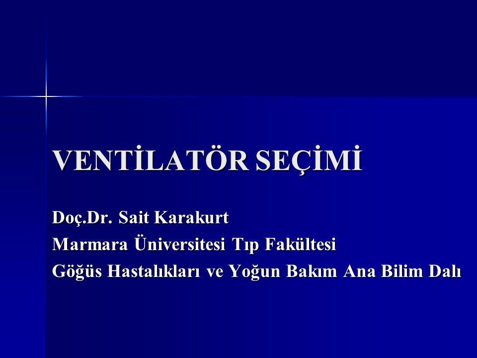 VENTİLATÖR SEÇİMİ Doç.Dr. Sait Karakurt Marmara Üniversitesi Tıp Fakültesi Göğüs Hastalıkları ve Yoğun Bakım Ana Bilim Dalı