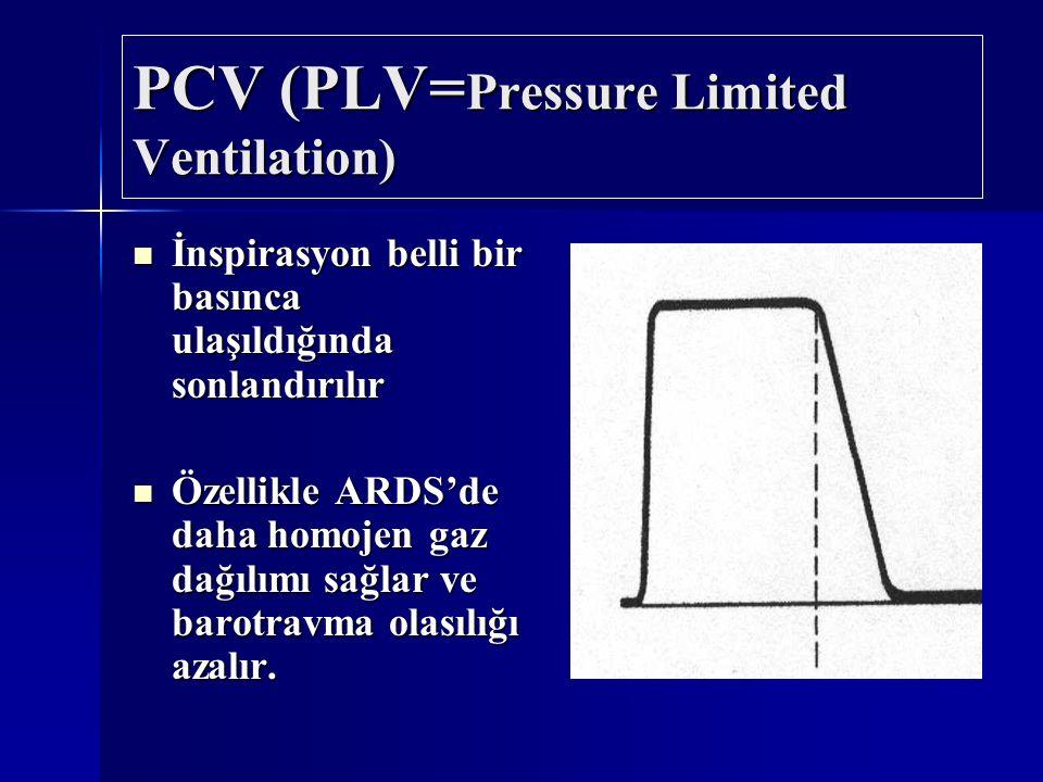 PCV (PLV= Pressure Limited Ventilation) İnspirasyon belli bir basınca ulaşıldığında sonlandırılır İnspirasyon belli bir basınca ulaşıldığında sonlandı