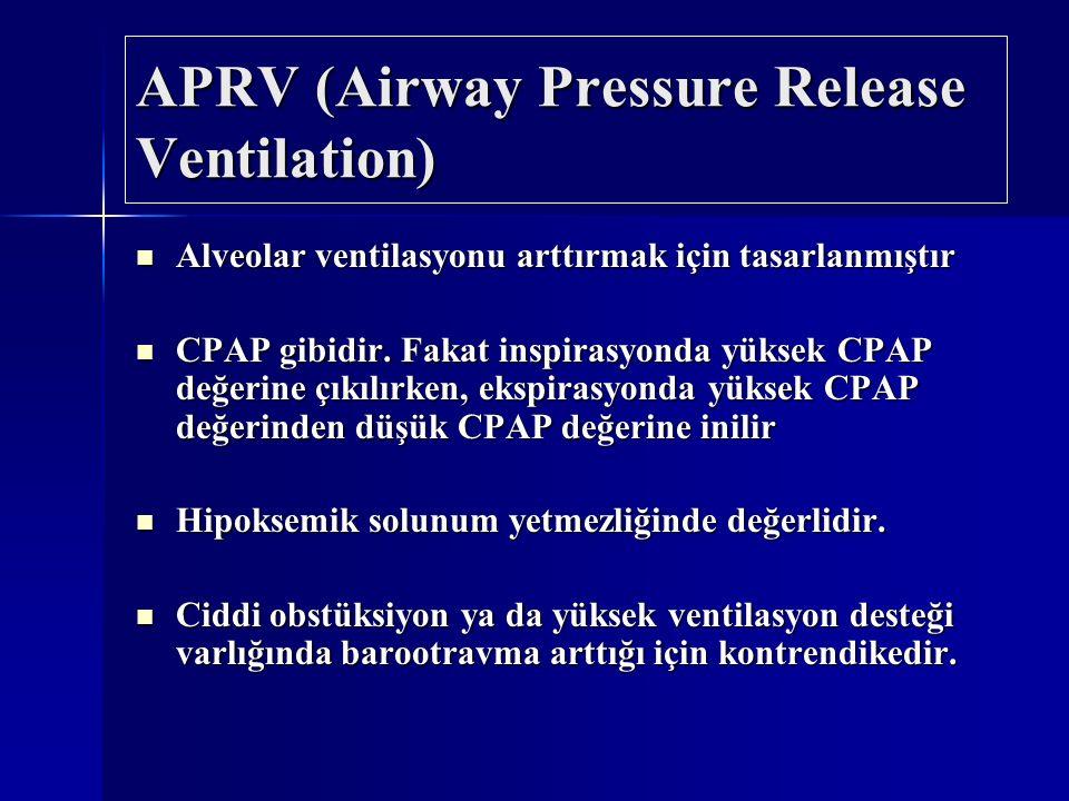 APRV (Airway Pressure Release Ventilation) Alveolar ventilasyonu arttırmak için tasarlanmıştır Alveolar ventilasyonu arttırmak için tasarlanmıştır CPA