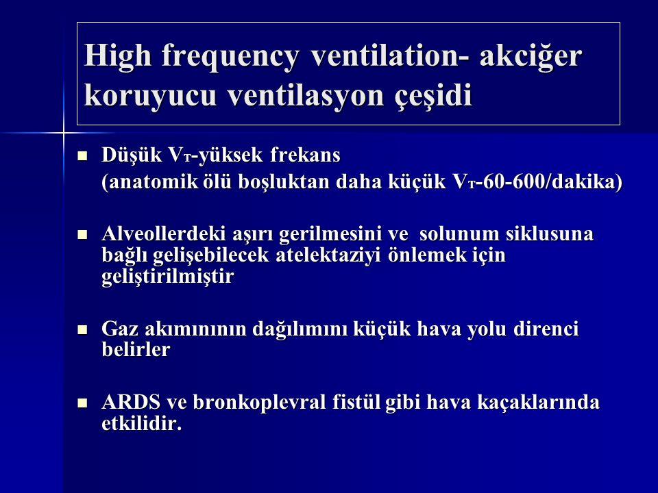Düşük V T -yüksek frekans Düşük V T -yüksek frekans (anatomik ölü boşluktan daha küçük V T -60-600/dakika) Alveollerdeki aşırı gerilmesini ve solunum