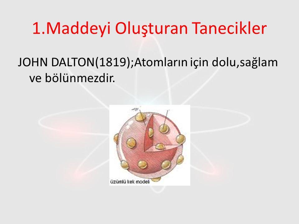 1.Maddeyi Oluşturan Tanecikler JOHN DALTON(1819);Atomların için dolu,sağlam ve bölünmezdir.