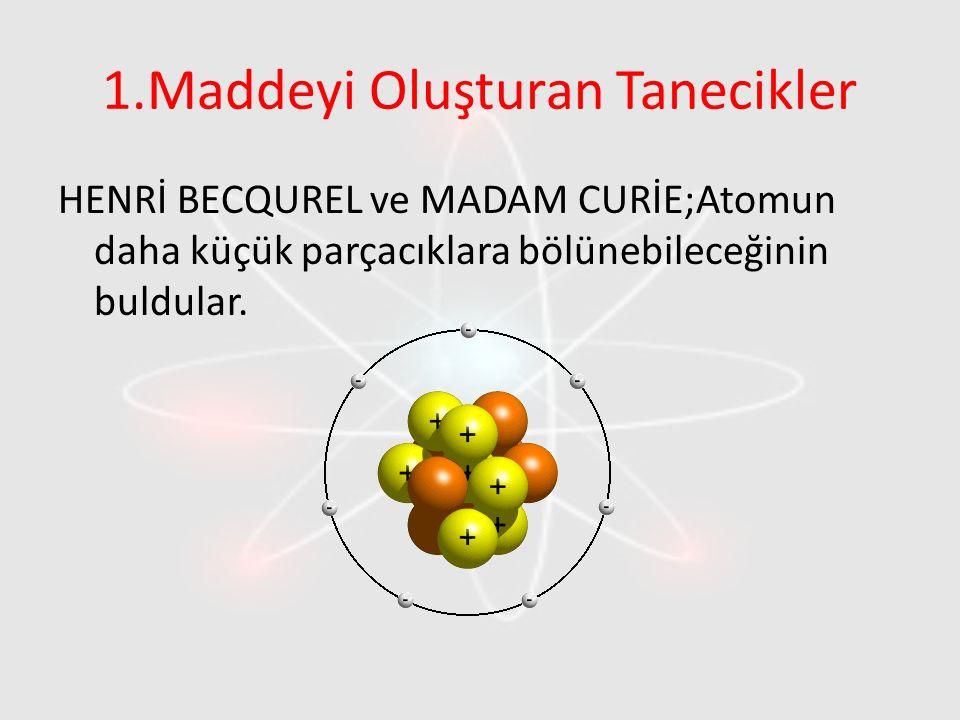 1.Maddeyi Oluşturan Tanecikler HENRİ BECQUREL ve MADAM CURİE;Atomun daha küçük parçacıklara bölünebileceğinin buldular.