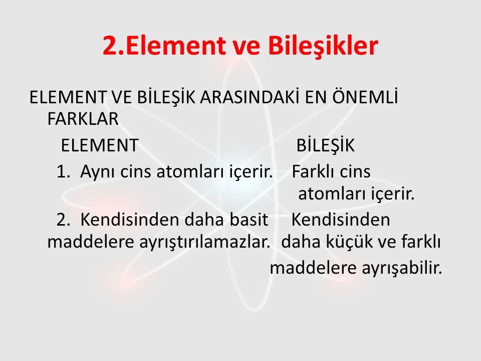 2.Element ve Bileşikler ELEMENT VE BİLEŞİK ARASINDAKİ EN ÖNEMLİ FARKLAR ELEMENT BİLEŞİK 1. Aynı cins atomları içerir. Farklı cins atomları içerir. 2.