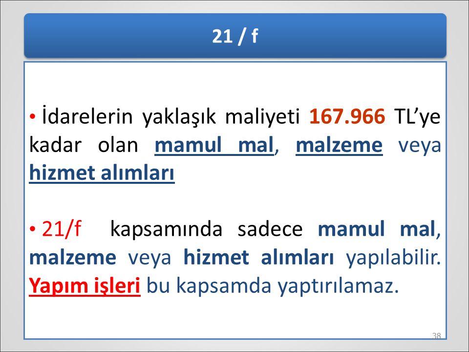 21 / f İdarelerin yaklaşık maliyeti 167.966 TL'ye kadar olan mamul mal, malzeme veya hizmet alımları 21/f kapsamında sadece mamul mal, malzeme veya hi