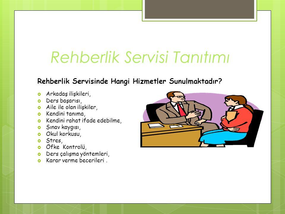 Rehberlik Servisi Tanıtımı Rehberlik Servisinde Hangi Hizmetler Sunulmaktadır?  Arkadaş ilişkileri,  Ders başarısı,  Aile ile olan ilişkiler,  Ken