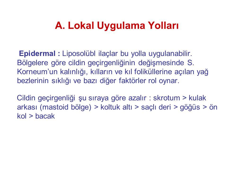 A. Lokal Uygulama Yolları Epidermal : Liposolübl ilaçlar bu yolla uygulanabilir. Bölgelere göre cildin geçirgenliğinin değişmesinde S. Korneum'un kalı