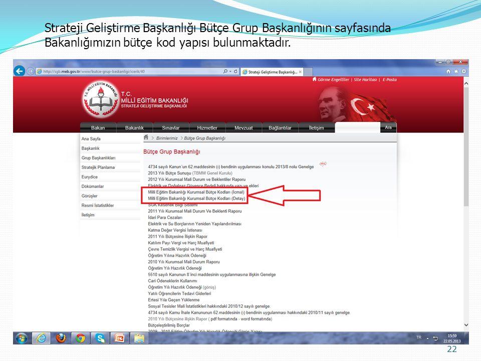 22 Strateji Geliştirme Başkanlığı Bütçe Grup Başkanlığının sayfasında Bakanlığımızın bütçe kod yapısı bulunmaktadır.