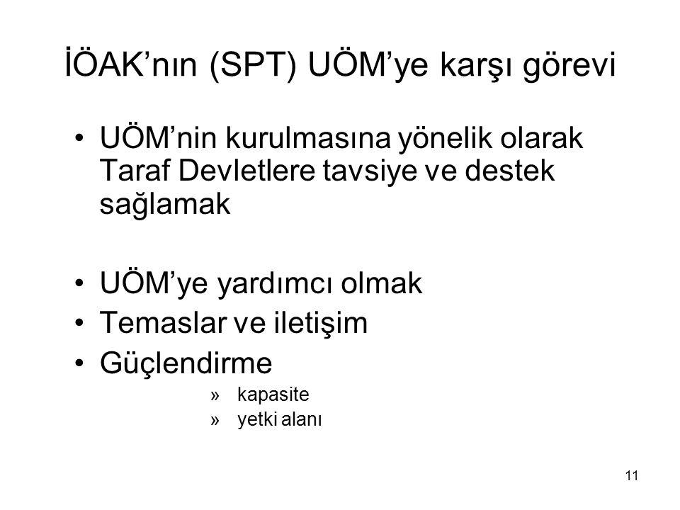 11 İÖAK'nın (SPT) UÖM'ye karşı görevi UÖM'nin kurulmasına yönelik olarak Taraf Devletlere tavsiye ve destek sağlamak UÖM'ye yardımcı olmak Temaslar ve iletişim Güçlendirme » kapasite » yetki alanı