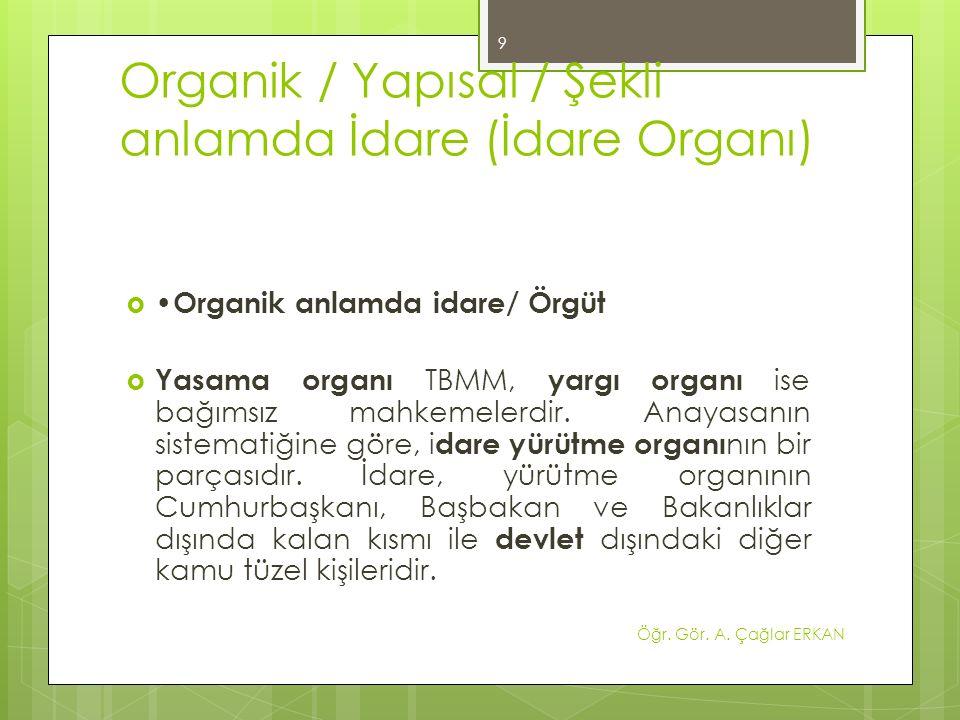 İdare Organın Tanımı  İdare hukukunun konusu kamu idaresidir.