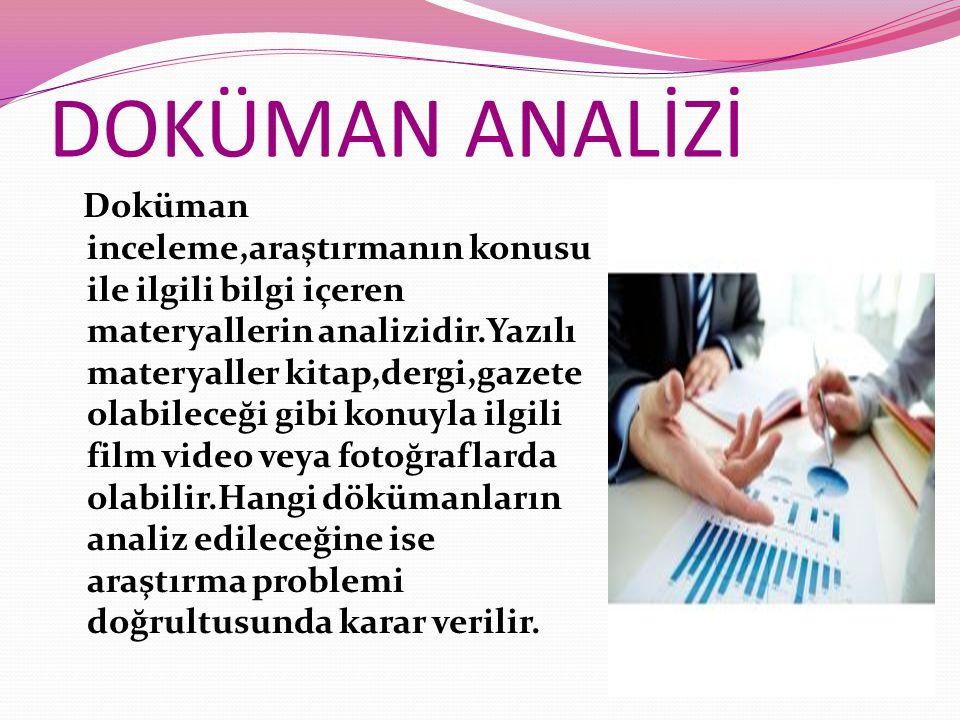 DOKÜMAN ANALİZİ Doküman inceleme,araştırmanın konusu ile ilgili bilgi içeren materyallerin analizidir.Yazılı materyaller kitap,dergi,gazete olabileceğ