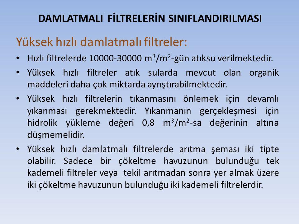 Yüksek hızlı damlatmalı filtreler: Hızlı filtrelerde 10000-30000 m 3 /m 2 -gün atıksu verilmektedir. Yüksek hızlı filtreler atık sularda mevcut olan o