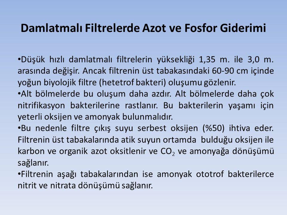 Damlatmalı Filtrelerde Azot ve Fosfor Giderimi Düşük hızlı damlatmalı filtrelerin yüksekliği 1,35 m. ile 3,0 m. arasında değişir. Ancak filtrenin üst