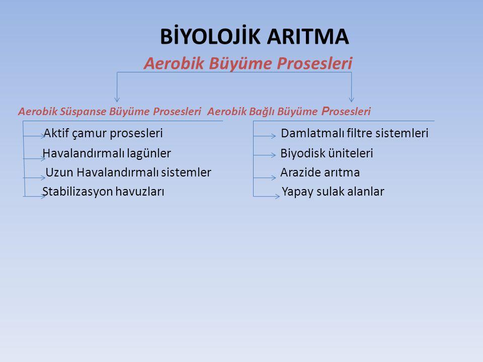 BİYOLOJİK ARITMA Aerobik Büyüme Prosesleri Aerobik Süspanse Büyüme Prosesleri Aerobik Bağlı Büyüme P rosesleri Aktif çamur prosesleri Damlatmalı filtr