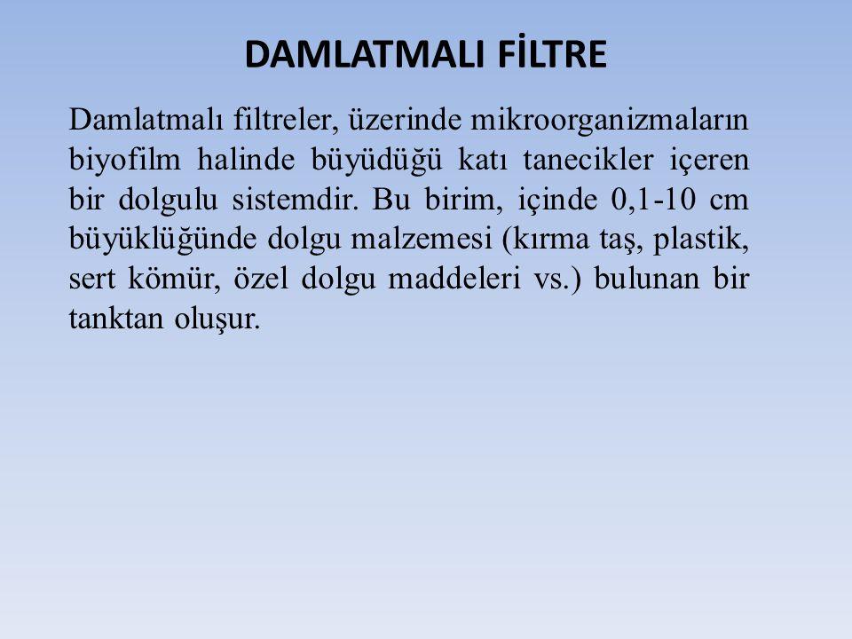 DAMLATMALI FİLTRE Damlatmalı filtreler, üzerinde mikroorganizmaların biyofilm halinde büyüdüğü katı tanecikler içeren bir dolgulu sistemdir.