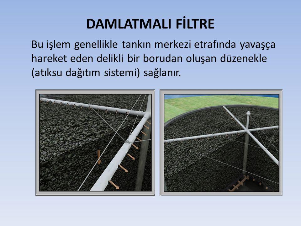 DAMLATMALI FİLTRE Bu işlem genellikle tankın merkezi etrafında yavaşça hareket eden delikli bir borudan oluşan düzenekle (atıksu dağıtım sistemi) sağlanır.