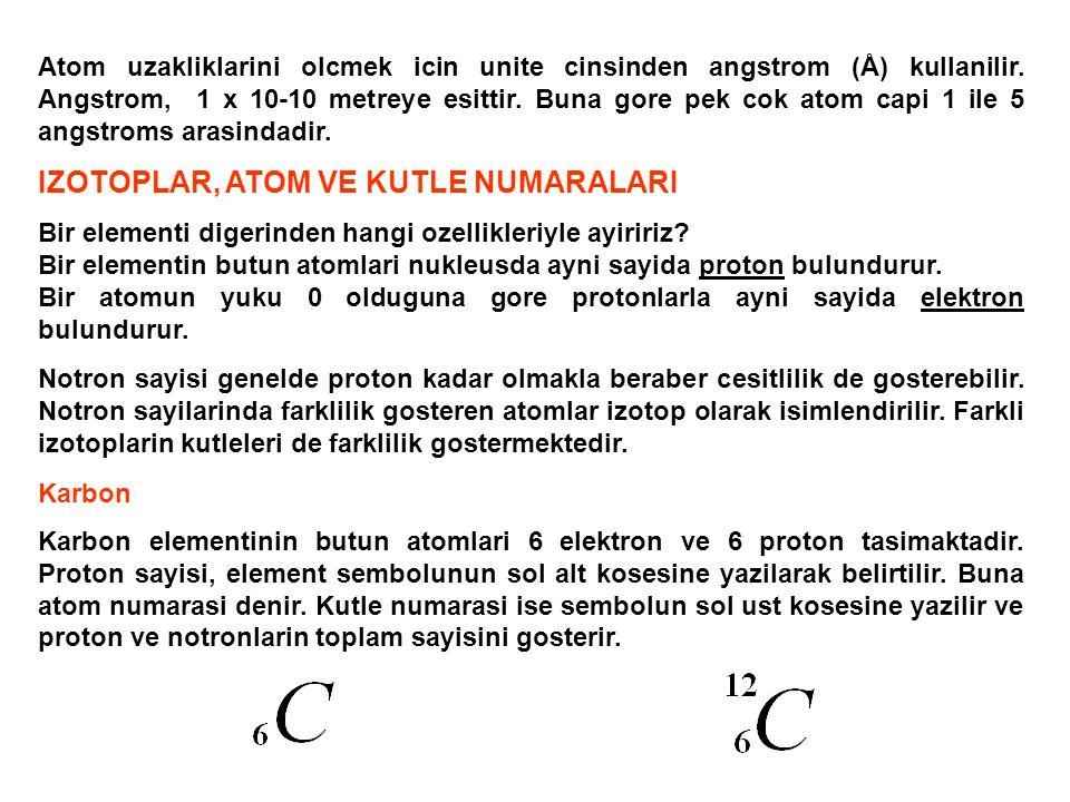 Atom uzakliklarini olcmek icin unite cinsinden angstrom (Å) kullanilir. Angstrom, 1 x 10-10 metreye esittir. Buna gore pek cok atom capi 1 ile 5 angst
