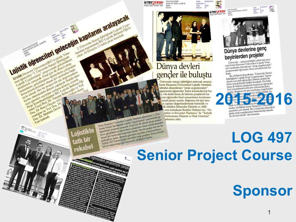 1 2015-2016 LOG 497 Senior Project Course Sponsor