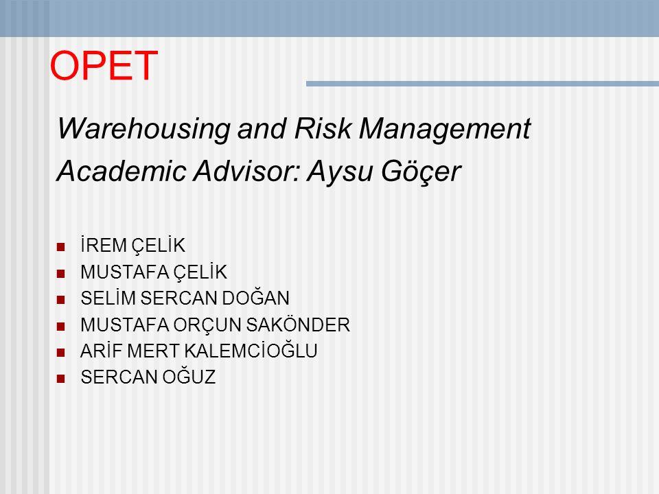OPET Warehousing and Risk Management Academic Advisor: Aysu Göçer İREM ÇELİK MUSTAFA ÇELİK SELİM SERCAN DOĞAN MUSTAFA ORÇUN SAKÖNDER ARİF MERT KALEMCİOĞLU SERCAN OĞUZ