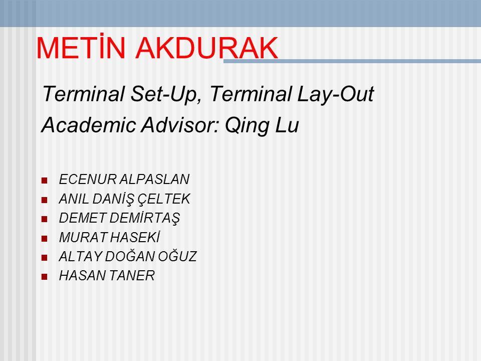 METİN AKDURAK Terminal Set-Up, Terminal Lay-Out Academic Advisor: Qing Lu ECENUR ALPASLAN ANIL DANİŞ ÇELTEK DEMET DEMİRTAŞ MURAT HASEKİ ALTAY DOĞAN OĞUZ HASAN TANER