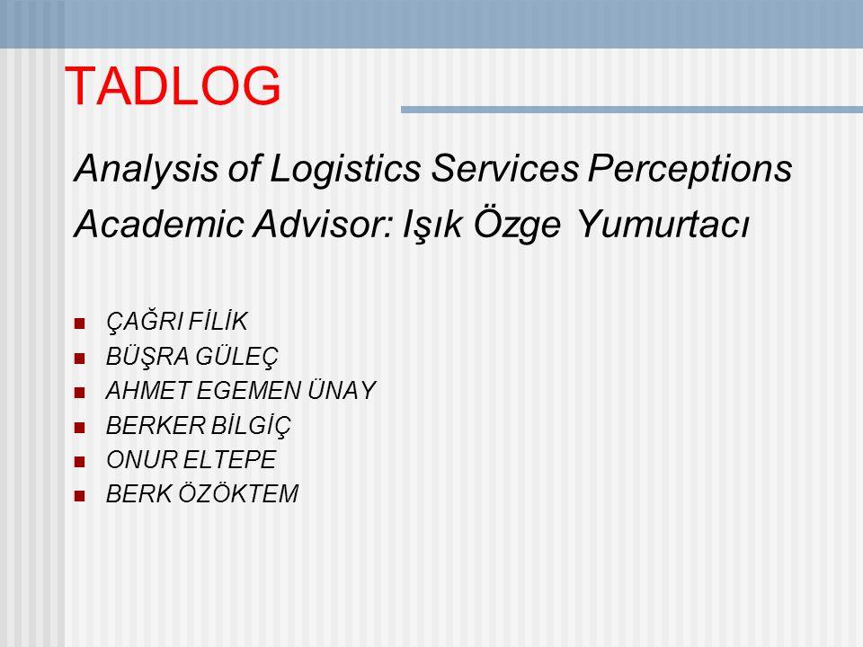TADLOG Analysis of Logistics Services Perceptions Academic Advisor: Işık Özge Yumurtacı ÇAĞRI FİLİK BÜŞRA GÜLEÇ AHMET EGEMEN ÜNAY BERKER BİLGİÇ ONUR ELTEPE BERK ÖZÖKTEM