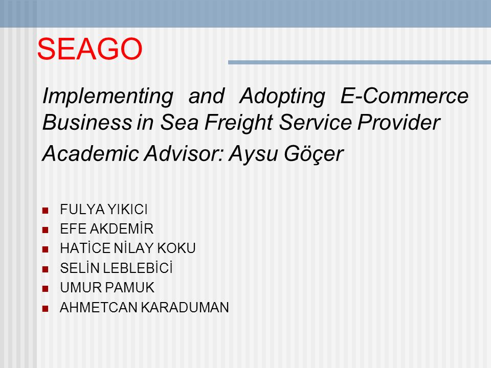 SEAGO Implementing and Adopting E-Commerce Business in Sea Freight Service Provider Academic Advisor: Aysu Göçer FULYA YIKICI EFE AKDEMİR HATİCE NİLAY