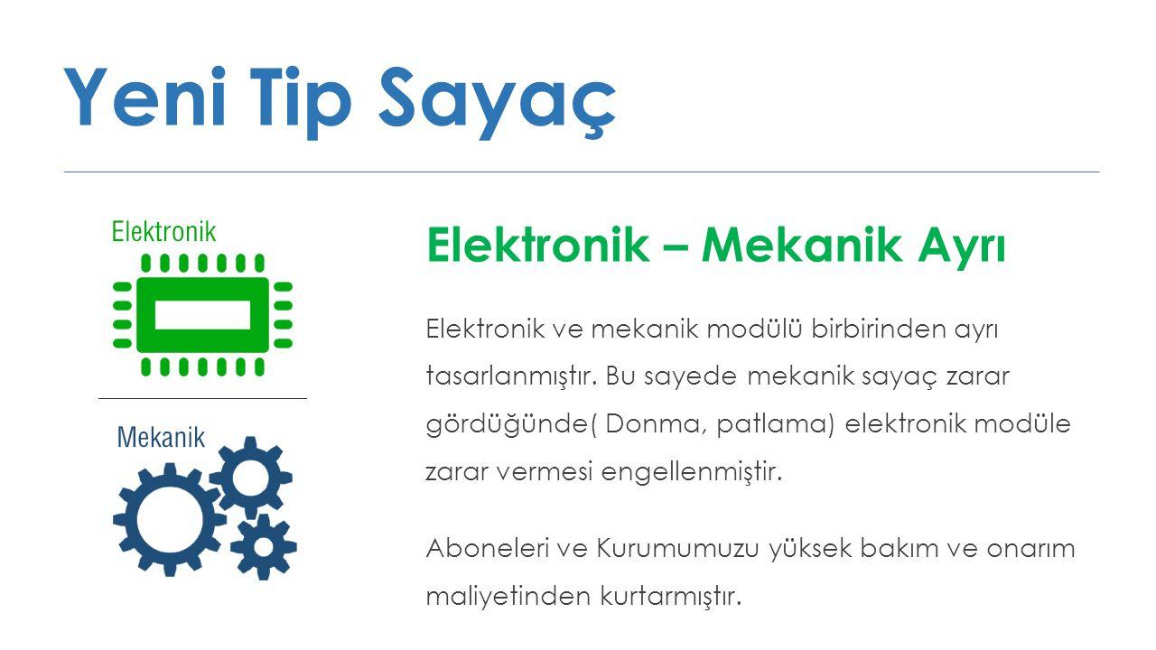 Yeni Tip Sayaç Elektronik – Mekanik Ayrı Elektronik ve mekanik modülü birbirinden ayrı tasarlanmıştır. Bu sayede mekanik sayaç zarar gördüğünde( Donma