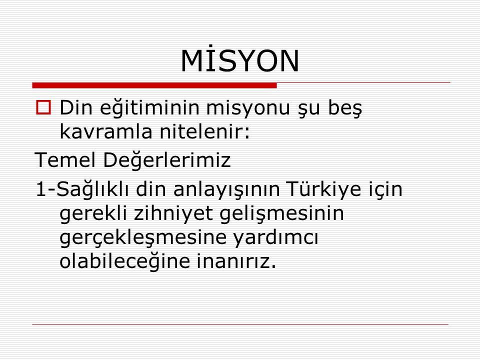 MİSYON  Din eğitiminin misyonu şu beş kavramla nitelenir: Temel Değerlerimiz 1-Sağlıklı din anlayışının Türkiye için gerekli zihniyet gelişmesinin ge