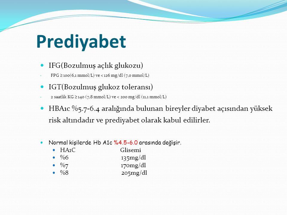 Prediyabet IFG(Bozulmuş açlık glukozu) FPG  100(6,1 mmol/L) ve < 126 mg/dl (7,0 mmol/L) IGT(Bozulmuş glukoz toleransı) 2 saatlik KG  140 (7,8 mmol/L
