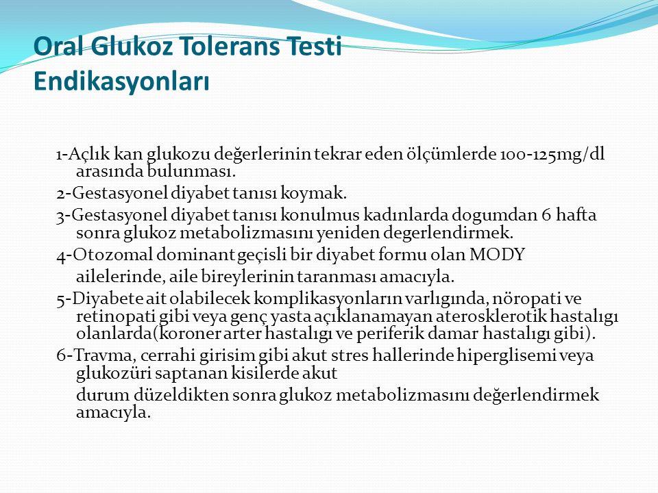 Oral Glukoz Tolerans Testi Endikasyonları 1-Açlık kan glukozu değerlerinin tekrar eden ölçümlerde 100-125mg/dl arasında bulunması. 2-Gestasyonel diyab