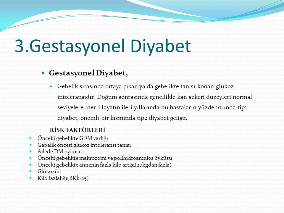 3.Gestasyonel Diyabet Gestasyonel Diyabet, Gebelik sırasında ortaya çıkan ya da gebelikte tanısı konan glukoz intoleransıdır. Doğum sonrasında genelli