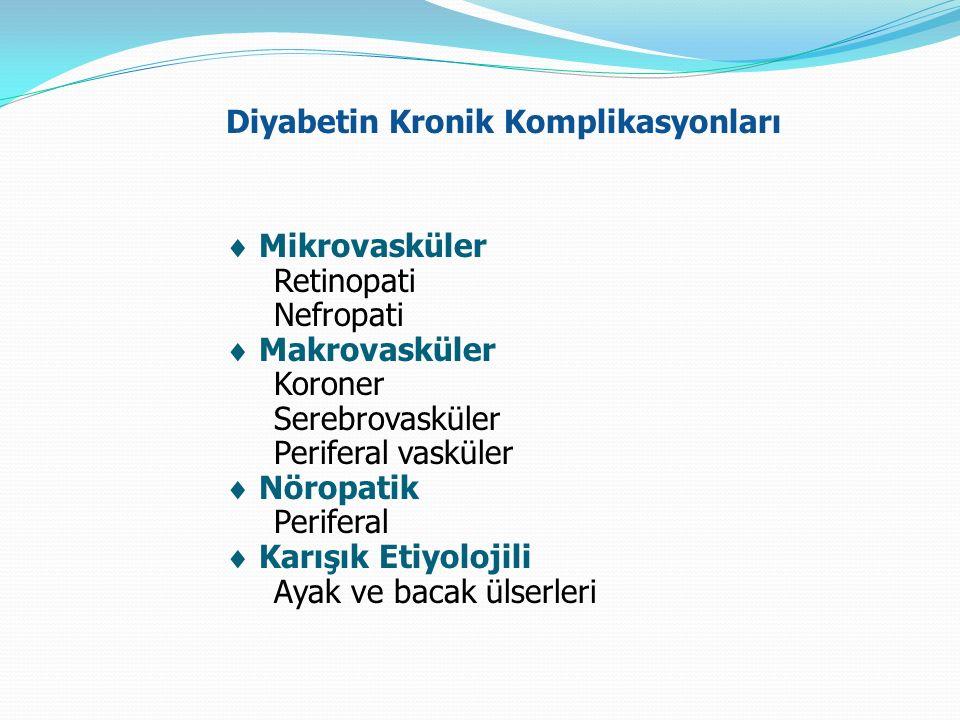 Diyabetin Kronik Komplikasyonları  Mikrovasküler Retinopati Nefropati  Makrovasküler Koroner Serebrovasküler Periferal vasküler  Nöropatik Perifera