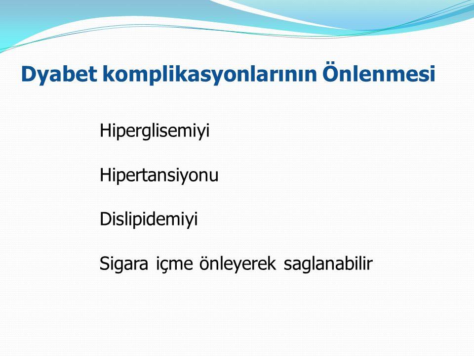 Dyabet komplikasyonlarının Önlenmesi Hiperglisemiyi Hipertansiyonu Dislipidemiyi Sigara içme önleyerek saglanabilir