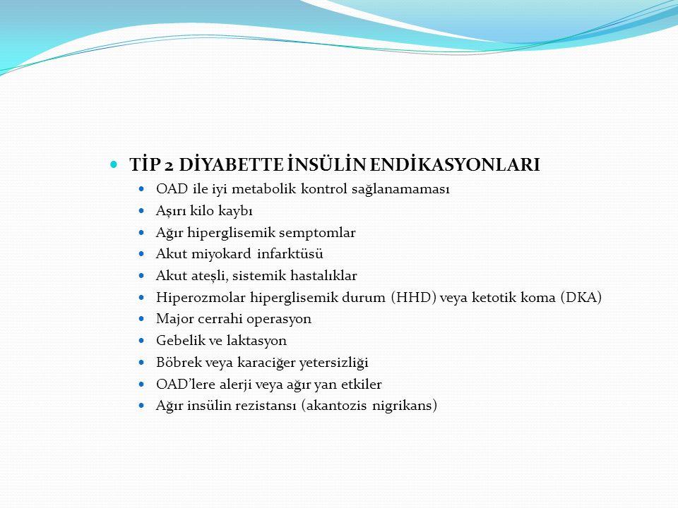 TİP 2 DİYABETTE İNSÜLİN ENDİKASYONLARI OAD ile iyi metabolik kontrol sağlanamaması Aşırı kilo kaybı Ağır hiperglisemik semptomlar Akut miyokard infark